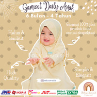 Busana Muslim Baju Gamis Setelan Set Hijab Syari Bayi Anak Perempuan - Kuning, 6 Bulan