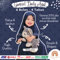 Stelan Baju Gamis Anak Bayi Balita Perempuan Syari Polos 1 2 3 4 Tahun - Navy, 6 Bulan