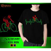 Kaos Anak Laki-Laki Glow in the dark Sepeda Gowes Baju Rhymes Atasan - Hitam, 4