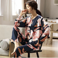 Piyama Baju Tidur Wanita Import Fashion Krah Kancing Lengan Panjang 2L - M/L