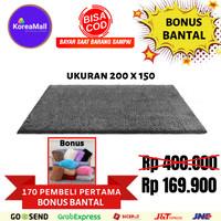 Karpet bulu KOREA IMPORT 200x150 + bantal rasfur kasur surpet TERMURAH - Abu-abu