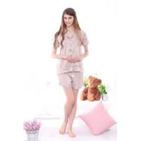 Satin Short Pants Piyama Nude / Baju tidur satin wanita dewasa / piyam - S
