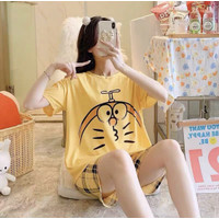 Piyama Baju Tidur Wanita Import Fashion Kaos Katun Jepang Hotpants