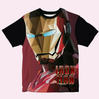 Baju Anak Kaos Anak Laki laki Iron Man Face Umur 1-12 Tahun,S - S