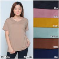 Kaos Oblong Wanita Baju Murah Atasan Polos Melar Jumbo Big Size LC1201 - Cokelat