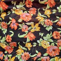 Kain Sifon chiffon meteran motif bunga kenanga orange halus lembut