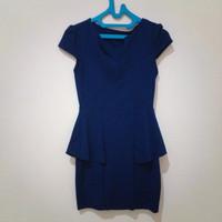 Obral murah baju dress wanita warna biru dongker ukuran L bagus