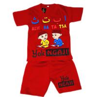 Setelan Baju Anak Laki Laki Yok Ngaji Usia 4-7 Tahun - Merah, L
