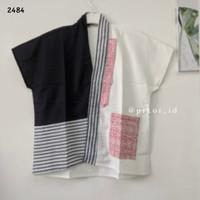 Baju batik wanita kantor modern / blouse batik v neck putih katun cewe