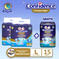 Confidence Popok Dewasa Premium Night L15 BUY 2 Free Premium Night L7