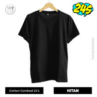 Kaos Polos Hitam / Kaos Oblong 24s Unisex / Kaos Cotton Combed