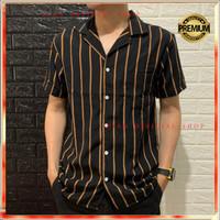 Kemeja Stripe Pria Lengan Pendek Cowo Baju Salur Garis Strip Casual XL - OO1S, M
