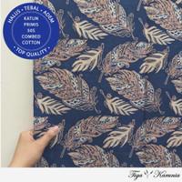 Kain Batik Cap Semi Tulis Solo Feather Navy Cream Bahan Katun Primis