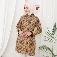Baju Wanita NK BATIK Atasan Tunik Sari Size Custom Jumbo Furing - mocca, XL
