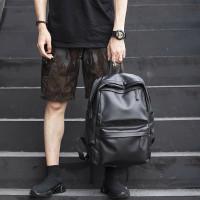 Tas Ransel Backpack Tas Sekolah Pria Wanita - Hitam (Kulit)