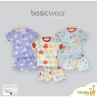 Velvet junior S M L Setelan Oblong Baju Tidur Piyama Pendek Anak Bayi