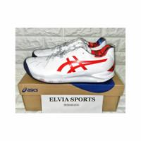 Sepatu Tenis ASICS GEL RESOLUTION 8 L.E. WHITE/CLASSIC RED