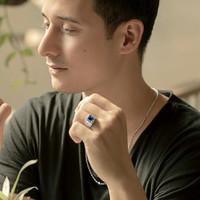 Cincin Pria Berlian Blue Sapphire Asli Emas Putih Mega Premium