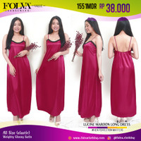 FOLVA baju tidur tanktop dress panjang satin 1551MDR maron all size