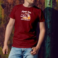 Baju kaos t shirt cowok laki gambar kata kata kopi keren sablon dtf