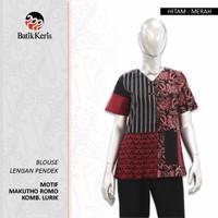 Batik Keris Blouse Lengan Pendek Mahkuto Romo Kombinasi Lurik
