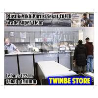 Plastik Mika Bening Pembatas Ruangan Sekat Toko AntiCovid 122cm 1.10mm