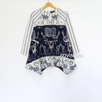 Atasan Tenun Kombinasi Wp 188 Biru/Cream Blush Blouse Bajukerja Wanita