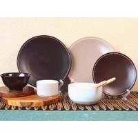 Piring Keramik List Cokelat by Carramica