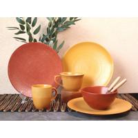 Piring Keramik Set Tekstur Orange by Carramica