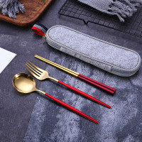 Peralatan Makan Set Garpu Sendok Sumpit + Pouch Traveling