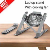 Laptop Stand With Cooling Fan Kipas Angin Laptop Macbook Lipat