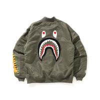 Bape Shark PONR Loose Fit Bomber MA-1 Olive Jacket