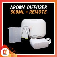 Aromatherapy Diffuser Essential Oil 7 LED Remote 500ML - Putih Polos