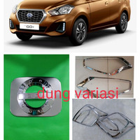 paket garnish lampu depan belakang tank cover Datsun Go + hitam chrome