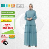 Promo Baju Gamis Muslim Wanita Full Furing Dress Original