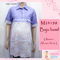 M24198 – Baju hamil lengan pendek kerah katun batik pastel