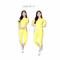 Setelan baju senam wanita pendek zumba aerobic yoga gym/pakaian senam - SE114, L
