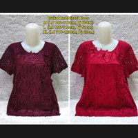 Ready Blouse Brukat Import/Baju Atasan Orangtua S1330 - Merah Marun, M