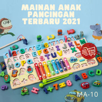 F86 Mainan edu puzzle montessori Papan pancing xylophone anak 5 in 1