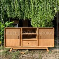 Meja Bufet Tv Rak Tv Retro Minimalis Solid Wood Teak Wood Kayu Jati