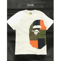 Bape Color Block Side Big Ape Head T-shirt 100% Original - White Orange, S