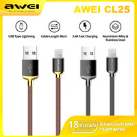 KABEL DATA CHARGER IPHONE TYPE LIGHTNING 30cm FAST CHARGING 2.4A AWEI - Gold, Type C