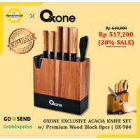 Oxone pisau set OX984 5pcs Acacia dan pengasah pisau pada balok kayu