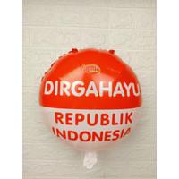 Balon Foil Plastik Bulat Merah Putih HUT RI 17 Agustus 40cm