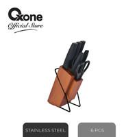 OXONE OX983 6 Pcs Knife Set With Rubber Wood Block Wooden/Pisau Set