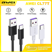KABEL DATA CHARGER TYPE C FAST CHARGING 5A 100cm AWEI