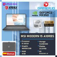 MSI Modern 15 A10RBS 601ID| i5 10210 8GB 512ssd MX350 2GB W10 15.6FHD
