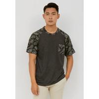 Woffi Man Kaos Pria - Tropical Raglan T-Shirt Grey