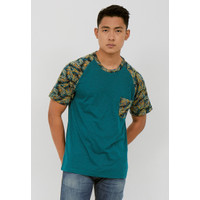 Woffi Man Kaos Pria - Tropical Raglan T-Shirt Green