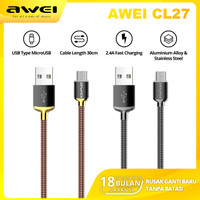 AWEI CL27 Kabel Data Charger Type Micro USB 30cm Fast Charging 2.4A